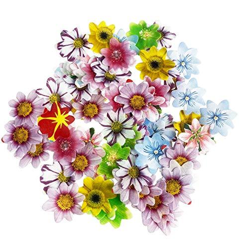 SONSMER - Juego de 48 Decoraciones comestibles para Cupcakes, diseño de Flores, Varios tamaños y Colores