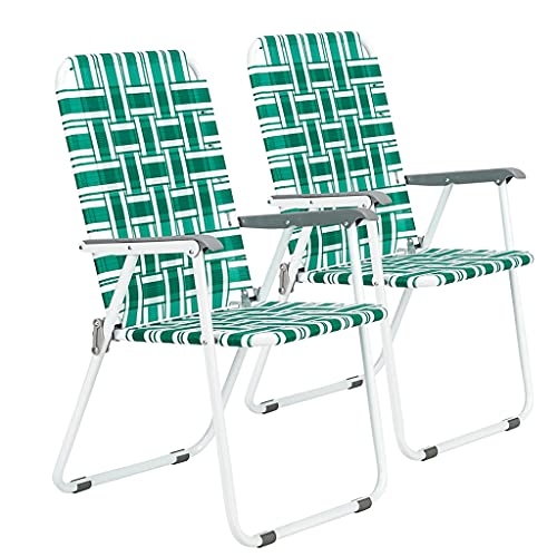 2 Pack Webbing Chair, Designs New Standard Patio Lightweight Folding Web Lawn Chair Set, Outdoor Reclining Beach Chair Portable Camping Chair, Webbed Folding Chair for Yard, Garden (Light Green)