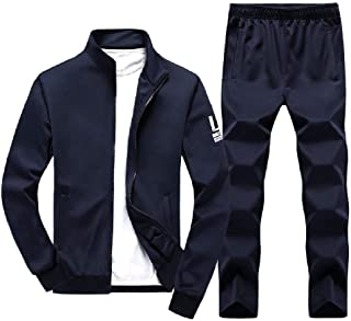 Mogogo Mens Letter Pocket Relaxed Stand Collar 2 Piece Set Sweatshirt Suits Tracksuits