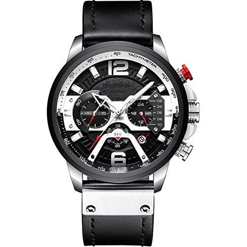 Herenhorloge, stijlvol casual horloge Multifunctioneel quartz horloge Waterdicht horloge met lichtgevende chronograaf datumfunctie,Silver