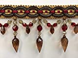 4' Crystal Beaded Tassel Fringe Trim TF-32/33-7-17 Cranberry/Brown & Antq Gold (Sold by The Yard)