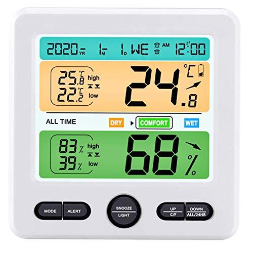 SODIAL HigróMetro Digital TermóMetro Interior, Calendario, Reloj Despertador, Interruptor ° C / ° F, para el Hogar, Oficina, Invernadero Negro