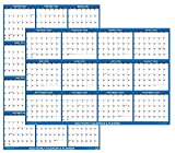 32' x 48' SwiftGlimpse 2022 Wall Calendar Erasable Large XL Wet & Dry Erase Laminated 12 Month Annual Yearly Wall Planner, Reversible, Navy