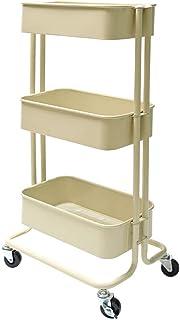 アイリスプラザ キッチンワゴン 調味料ラック バスケットラック スリム 収納ワゴン 3段 幅27.3 x 奥行38.5 x 高さ78.1 cm キャスター付 ベージュ
