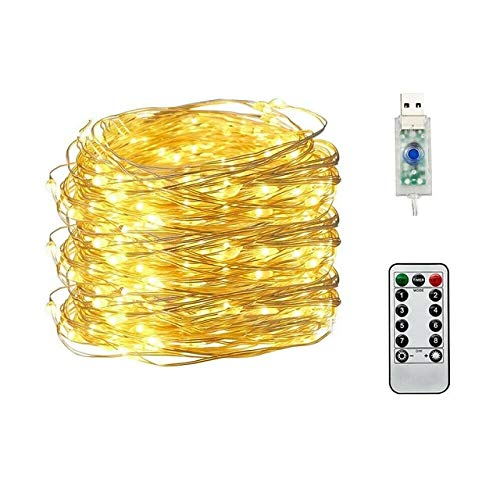 50/100/200 LED Copper Wire String Lights USB Plug-in Fairy Lights with Remote 8 Modes Lights Waterproof Remote Control Timer - Warm White,5M 50LED