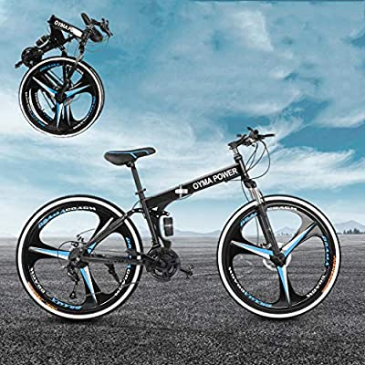 ZCCSHOWN Mountain Bike,26 Inch 21 Speed Folding Bike with Disc Brakes/Full Suspension for Men Women,Outdoor Bicycle for Exercise Fitness (A)