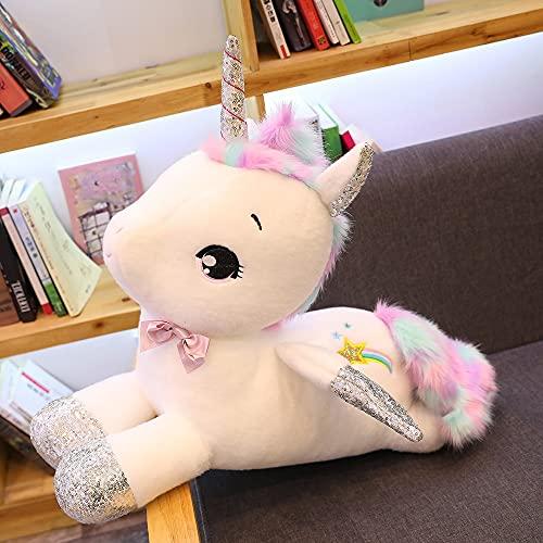 ZHANGWENJIE Unicorn Plush Toys Stuffed Animal Horse Pillow for Girls Sequin Horn Soft Doll Home Bed Decor Birthday Gift for 30cm