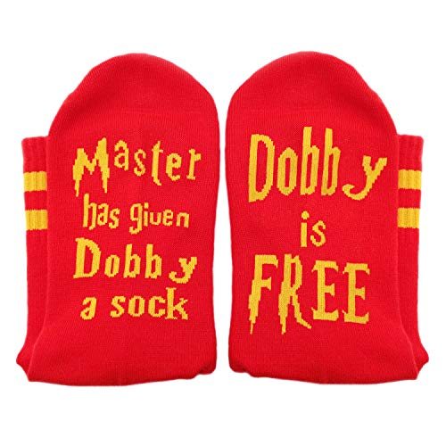 """Master has given Dobby a sock, Dobby is FREE"" Socks by Smith's® - Red & Gold House Colours 