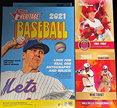 2021 Topps HERITAGE Baseball Card Factory Sealed Hanger Box w/35 Cards - Look for Real One Autographs/Relics - Includes the Two Mike Trout Custom Cards Shown!