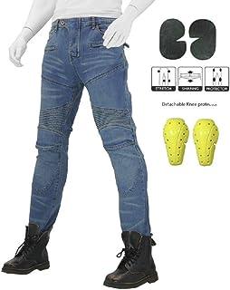 51fe4c4a Hombre Mujer Motocicleta Pantalones Moto Pantalón Mezclilla Jeans Con  Protección Aramida Azul (M- (
