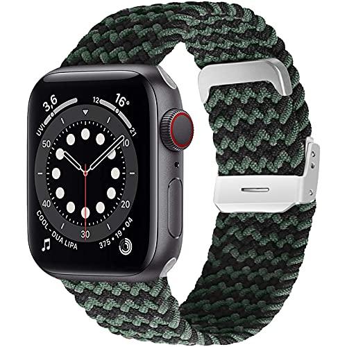 Songsier Correa para Apple Watch 38 mm 42 mm 40 mm 44 mm, Correa de Repuesto Ajustable de Fibras de Silicona Trenzadas Elásticas Compatible con iWatch Series 6 5 4 3 2 1 SE