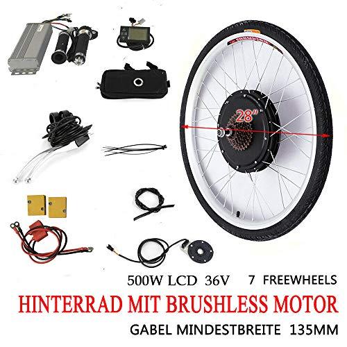 "MINUS ONE Elektrisches 28"" Fahrrad-Umbausatz E-Bike Conversion Kit Elektrofahrrad Kit Hinterrad Elektrofahrrad Motor Umbausatz (36V 500W mit LCD)"