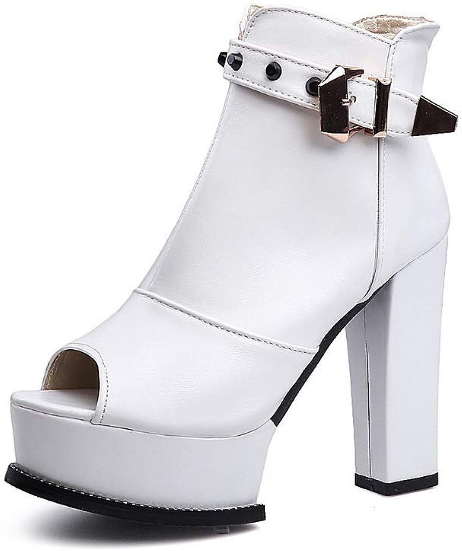 1TO9 Womens Chunky Heels Metal Buckles Platform Urethane Boots MNS03218