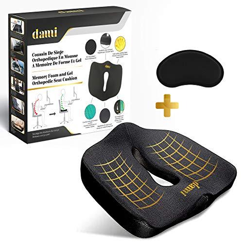 Dami - Cojín de asiento de espuma con memoria de forma y gel | Forma ergonómica antidolor, espalda, coccyx, cadera, altavoz para mujer, oficina, casa, coche, regalo: 1 reposamuñecas