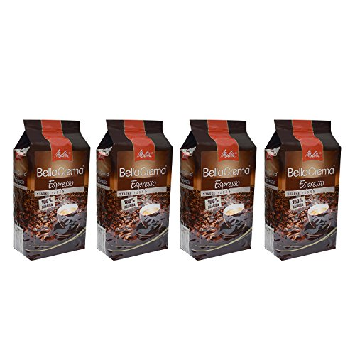 Melitta BellaCrema Espresso, 100 % Arabica, Ganze Kaffeebohnen, 1000g, 4er Pack (4 x 1kg)