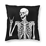 MINIOZE Rock Skeleton Funny Bone Skull Print Plush Soft Square Pillow Covers Home Decor Cushion Covers Decorations Gifts Pillowcase for Indoor Sofa Bedroom Car 18 x 18 Inch