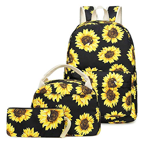 Teen Girls School Backpack Bags Water Resistant Laptop Bag Womens Bookbag with Lunch Box and Pencil Case, Sunflower