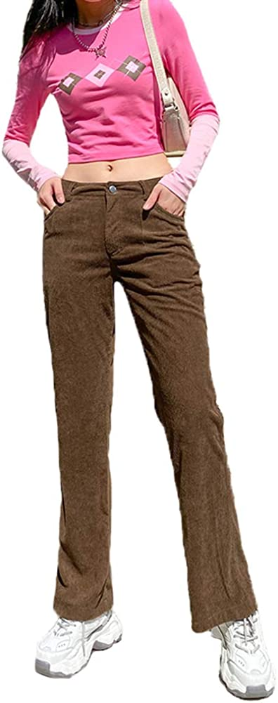 Women Vintage Corduroy Straight Leg Trousers Mid Waist Loose Ribbed Long Pants with Pockets