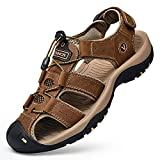 MLLM Zapatillas de verano Playa Piscina, Al aire libre cuero bolsa cabeza sandalias, zapatos de playa transpirables para hombre marrón oscuro A_41, chanclas unisex playa ducha piscina