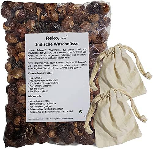 Rekosan® Indische Waschnüsse 1 kg plus 2 Portionsbeutel aus Baumwolle für die Waschtrommel