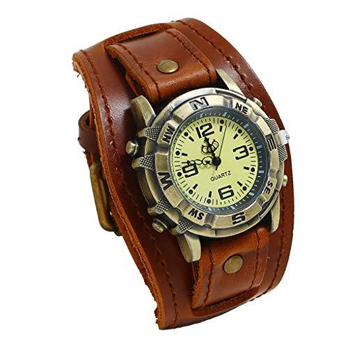 Herren Uhr Dornschließe Armbanduhr für Männer Groveerble Leder Taschenuhren Mode Punk Smartwatches Einfache Quarz Uhr für Mann Legierung-Uhr Abschluss-Geschenke