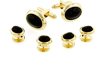 Made in the USA. JJ Weston Onyx Etched Caduceus Doctor Tuxedo Cufflinks and Shirt Studs