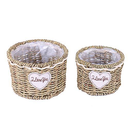 COJJ Straw basket rattan flowerpot creative hand woven flower arrangement