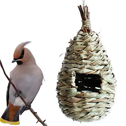 Chennie 6 Stück Stroh Gewebte Vögel Käfig Garten Ornament Künstliche Vogel Haus Garten Dekor für Vögel