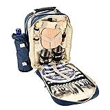 Cesta de picnic Tote 4 persona Bolsa de mochila de picnic azules Incluye 29 piezas Conjunto de comidas Compartimento Cooler Para mantener la comida enfriada para el viaje / Picnic / Deportes / Vuelo K
