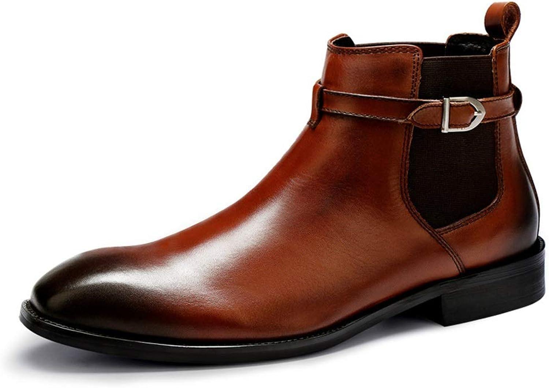 ZHRUI Genuine läder Chealsea stövlar for män män män Buckle Soft Sole Durable Fahion stövlar (Färg  bspringaaa, Storlek  UK 7)  snabb leverans och fri frakt på alla beställningar