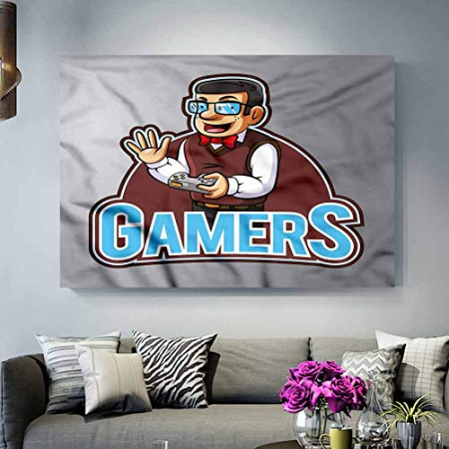 ParadiseDecor Dorm Wall Decorations Gamer,Nerd Guy with Bowtie Glasses Elegant and Sturdy Packaging L30 x H60 Inch