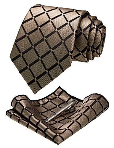 JEMYGINS Champagner Gold seide Krawatte und Einstecktuch mit krawattenklammer Set für Herren Seidenkrawatten Hochzeit Schlips (14)