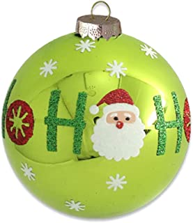 kat + annie Green ho Round Ornament, Lime, Red, White