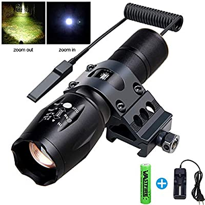 VASTFIRE Zoomable Tactical Flashlight 500 Lumen 150 Yard Single 1 Mode Picatinny Rail Mounted Flashlights with 45° Offset Mount Dual Function Pressure Switch
