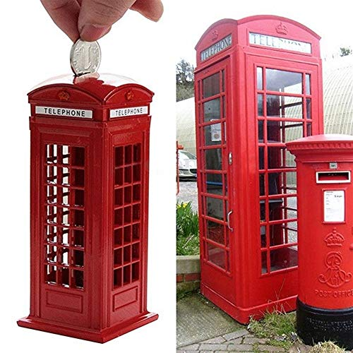 ZZLLFF Metall Red British English London Telefonzelle Sparbüchse Spartopf Piggy Bank Red Phone Booth Box 140X60X60Mm (Color : Red)