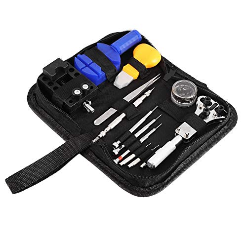 Kit de reparación de relojes - Juego de herramientas de reparación de relojes Kit de herramientas de reparación de relojes Abrelatas de caja de reloj Enlace Juego de tornillos de extracción de barra d