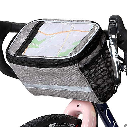 Xian Ju Fahrrad Lenkertasche, Wasserdicht Fahrradtasche Handy Rahmentasche Gepäckträger Tasche mit 2 Netztaschen, Reflektierenden Streifen und PVC Touchscreen für Draussen Aktivität Pack Zubehör,6L