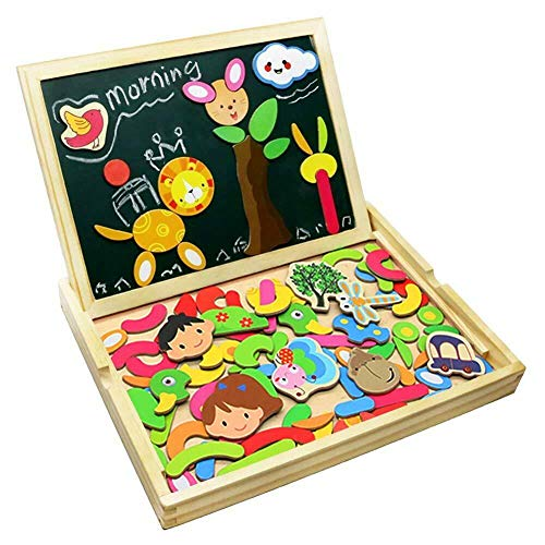Great Gift! Wooden Jigsaw Puzzles Double Sided Magnetic Writing Board For Black Kids Child Toy Game Play Creative Educational Fun Xmas Christmas Furniture