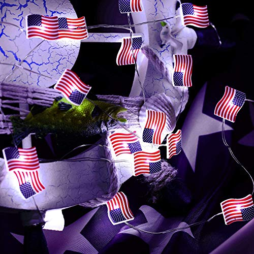 Independence Day Decor,American Flag String Lights,10ft 30 LEDs USA Flag Lights Battery Operated with Remote for 4th of July,Memorial Day,Patriotic Decor,Indoor, Outdoor Decor (American Flag Light)