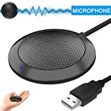 Hfuear USB Computer Microphone, Portable Omnidirectional Condenser Boundary Laptop Conference Microphone for Recording, Video Meeting, Gaming, Skype, VoIP Calls with 360°10ft Pickup Range