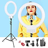 Neewer 18-inch White LED Ring Light with Light Stand Lighting Kit Dimmable 42W 3200-5600K with Soft Filter, Hot Shoe Adapter, Cellphone...