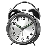Kpin Double Twin Bell Slivery Alarm Clock with Battery Operated, Luminous Alarm Clock Hands, Backlight on Demand, Loud Alarm for Deep Sleepers. (ML, Silver-Plate)