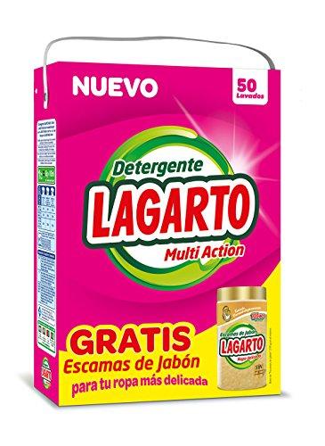 Lagarto Detergente en Polvo para Lavadora, 50 Lavados + Bote Escamas. 3250gr