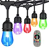 48FT Color Changing Outdoor String Lights, RGB Cafe LED String Light with 15 E26 Shatterproof Edison Bulb Dimmable, Commercial Light String for Patio Backyard Christmas Holiday Party, Remote