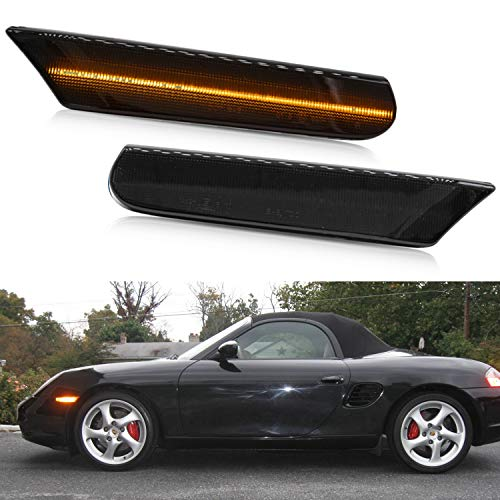 NSLUMO Led Side Marker Lights for Porsche 97-04 986 Boxster 996 Carrera 911 Smoked Lens Amber LED Front Bumper Side Marker Assembly
