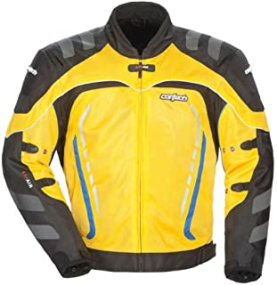 Cortech GX Sport Air 3 Men's Mesh Armored Motorcycle Jacket (Yellow, X-Small)