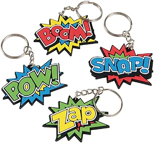 Kids Keychains for Keyd and Backpacks (12 Pack) (Superhero Rubber Keychains) Super Hero Comic Book Theme Keychains