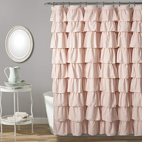 Lush Decor, Blush Ruffle Shower Curtain, 72u0022 x 72u0022