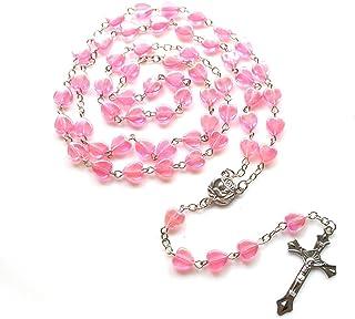 BMBN Rozenkrans ketting, katholieke liefde rozenkrans gebed ketting maria zegen kruis hanger kettingen hart vormige kralen...