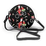 Bolso de mano con diseño de Papá Noel en bicicleta para mujer y niña, redondo